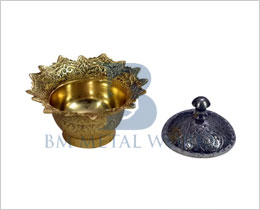 Brass And Silver Sindoor Box